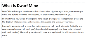 Explanation of the game Dwarf Mine.